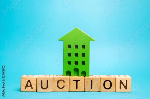 Wooden blocks with the word Auction and miniature house Canvas Print