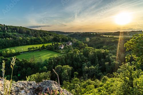 Photo Epic sunset on hill near Prague.