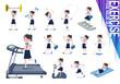 flat type school girl Sailor suit summer_exercise