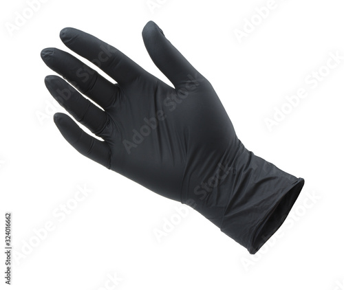 Fotografia, Obraz Black empty nitrile protective glove