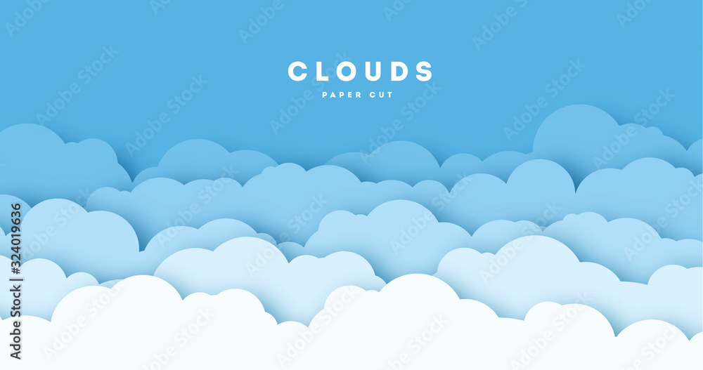 Fototapeta Paper cut lot of clouds. Sunny day clouds. Creative paper craft art style, vector illustration.