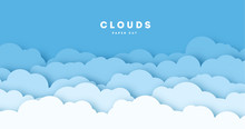 Paper Cut Lot Of Clouds. Sunny Day Clouds. Creative Paper Craft Art Style, Vector Illustration.