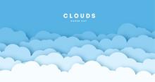 Paper Cut Lot Of Clouds. Sunny...