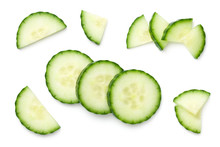 Cucumber Slices Isolated On Wh...