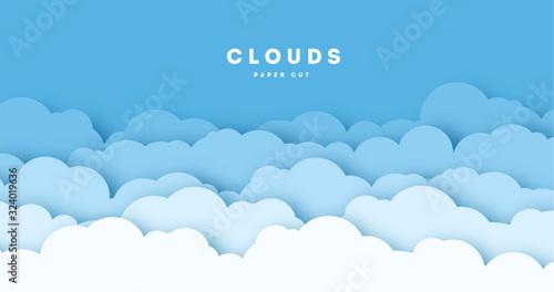 Paper cut lot of clouds Fototapeta