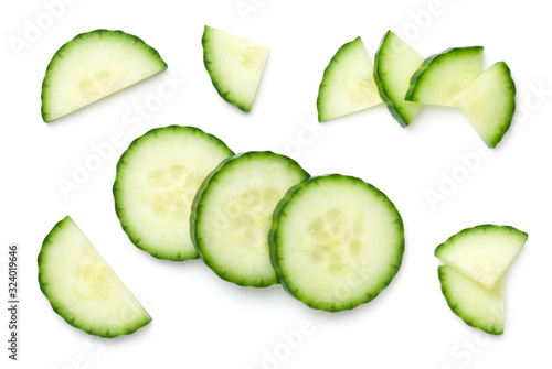 Stampa su Tela Cucumber Slices Isolated On White Background