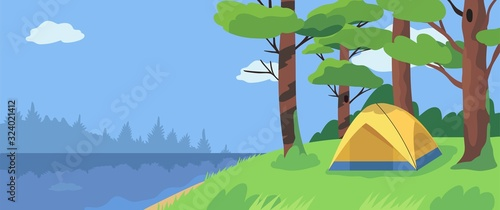 Fototapeta Vector landscape or panorama of a camping place in a forest near the river. Yellow tent on a riverside. Outdoor adventure and nature eco tourism concept for banners, flyers, landing page design. obraz