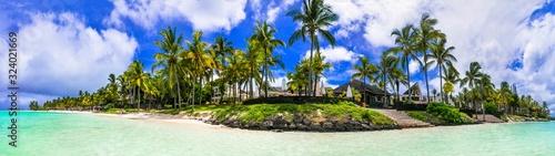 Obraz Splendid panoramic view of tropical beach Belle Mare in Mauritius island - fototapety do salonu