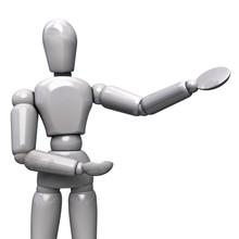 White Plastic Robot Showing Presentation