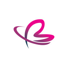 Butterfly Color Line Art Stroke Letter B Logo Design