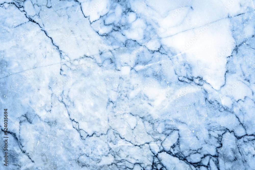 Fototapeta Blue marble patterned texture background for interior design