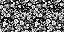 Floral Black And White Seamles...