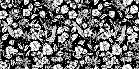 Cvjetni crno-bijeli bešavni uzorak. Proljetna pozadina od cvjetova jabuke, trešnje, sakure, tulipana, pahuljica, grana drveća i lišća. Vector eps 10