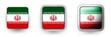 6 Iran Vector Icons - Button Shield And Gear, Flat And Volumetric Style In Flag Colors Green, Red, White For Flyer Any Holiday Design Or Poster