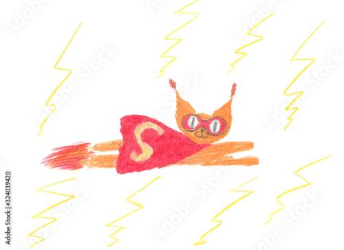 Fototapeta Superbohater rysunek dziecka obraz