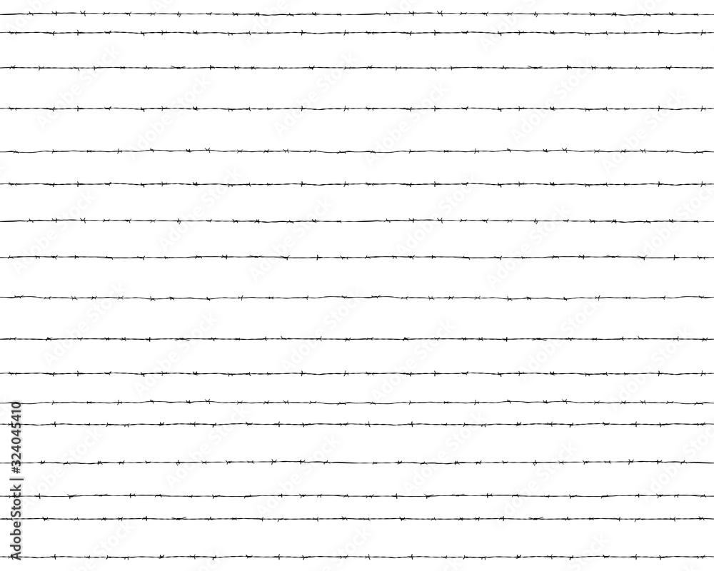 Fototapeta Black silhouettes barbed wire on a white background, seamless