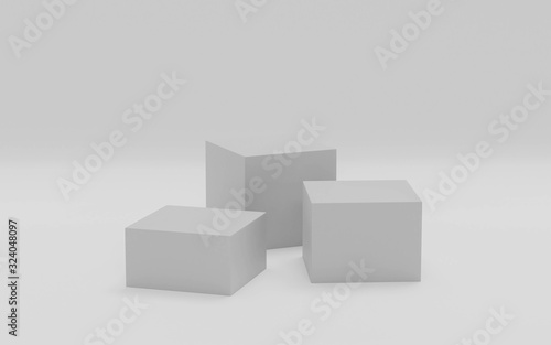 Abstract modern futuristic boxes cubes background 3d render illustration with empty blank copy space