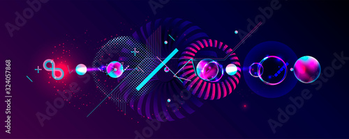 Dark retro futuristic art neon abstraction background cosmos new art 3d starry sky glowing galaxy and planets blue circles - 324057868