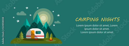 Obraz Camping Nights Banner with Moon, Trees, Fire and Stars - fototapety do salonu