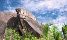 Unique Granite Rocks On Anse Source D'Argent Beach On La Digue Island, Seychelles,
