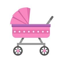 Cute Baby Stroller On White Ba...