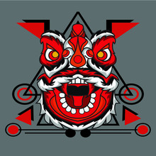 Lion Dance With Red Fangs Suitable For Logos, Product Stamps, Wall Displays, Apparel, Etc.