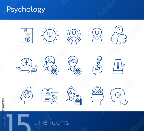 Fototapeta Psychology line icon set