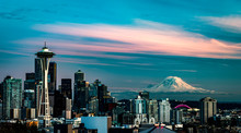 Seattle Sunset Skyline With MT...