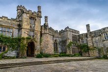 Exterior View Of A Tudor Fortified House, With A Central Entrance Tower.,Haddon Hall, Bakewell