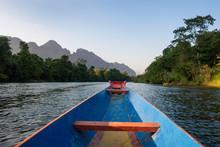 Nam Song River, A Boat On The Water At Vang Vieng, Laos,Van Vieng