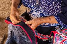 Woman Seated Stitching, Making...