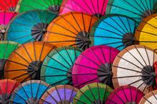 Colorful Umbrellas At Street Market In Luang Prabang, Laos,Vientiane