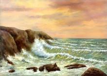 Digital Oil Paintings Sea Landscape, Waves Crashing On The Rocks.Fine Art