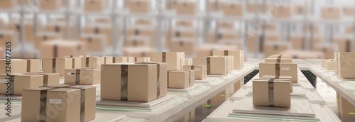 Obraz postal parcel logistics shipping parcels 3d-illustration brown packages - fototapety do salonu