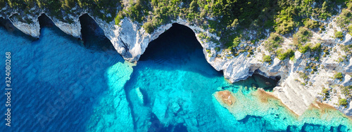 Fotografie, Tablou Aerial drone ultra wide photo of tropical white rocky bay of blue lagoon with tu