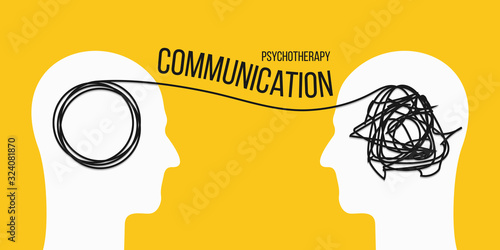 Fotomural Creative vector illustration of psychotherapy communication on background