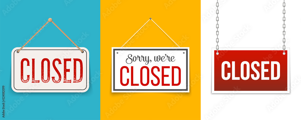Fototapeta Creative vector illustration sign - sorry we are closed background. Art design closed banner on door store template. Signboard with a rope. Abstract concept for businesses, site, shop services element