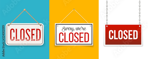 Obraz Creative vector illustration sign - sorry we are closed background. Art design closed banner on door store template. Signboard with a rope. Abstract concept for businesses, site, shop services element - fototapety do salonu