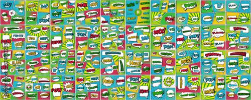 Fotografie, Obraz Creative vector illustration of comic speech bubble, pop art set background