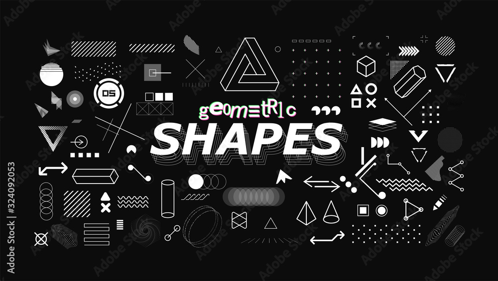 Fototapeta Set of neo memphis geometric shapes. Trendy graphics element for your design. Vaporwave style, universal geometric shapes and elements on dark background. Vector memphis elements set