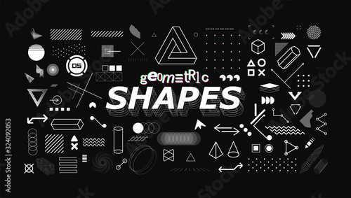Fototapeta Set of neo memphis geometric shapes. Trendy graphics element for your design. Vaporwave style, universal geometric shapes and elements on dark background. Vector memphis elements set obraz