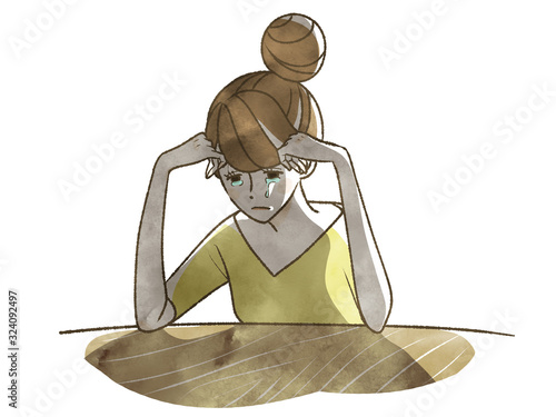 Canvas-taulu 涙を流して落ち込む・絶望する女性