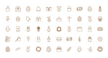 Happy Easter Line Style Icon Set Vector Design