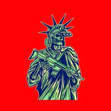 Vector Illustration Of Liberty Statue Bring Gun And Wear Night Vision
