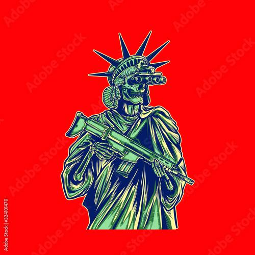Obraz Vector illustration of liberty statue bring gun and wear night vision - fototapety do salonu