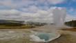 Geyser erupts in yellowstone