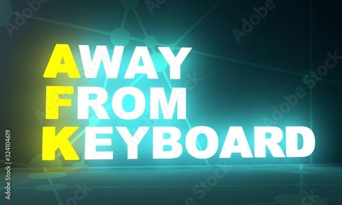 AFK - Away From Keyboard internet acronym illustration Wallpaper Mural