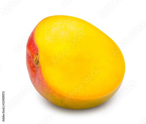 Fototapeta Ripe mango cut in half isolated on white with clipping path. obraz na płótnie