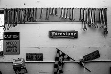 Wall Of Wrenches In OldSchool Car Garage Vintage Tools