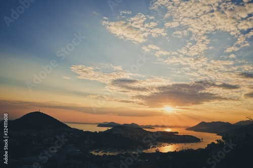 Orange Sunset in Dubrovnik, Croatia